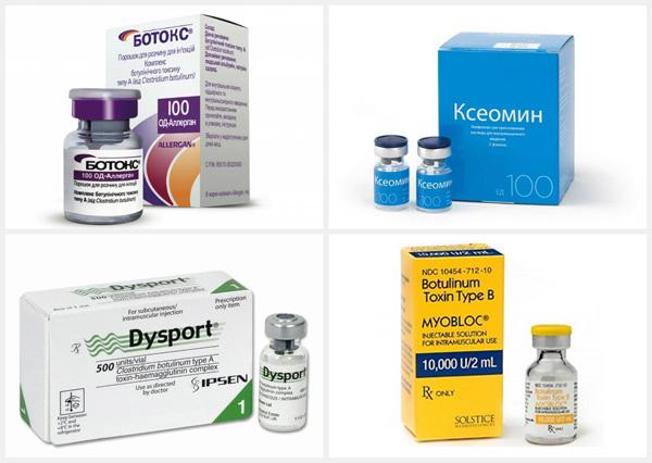 Préparations à la toxine botulique: Botox, Xeomin, Dysport, Myoblock